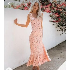 Vici | Like A Peach Floral Ruffle Maxi Dress